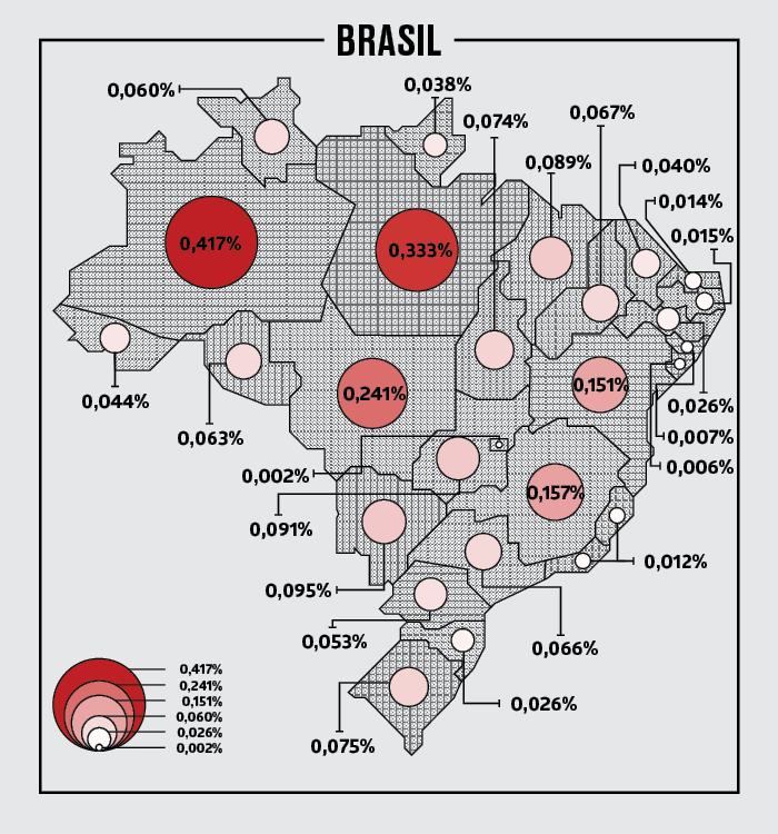 Mapa com as probabilidades da estação espacial atingir cada região do país. Região Norte seria a mais provável da queda