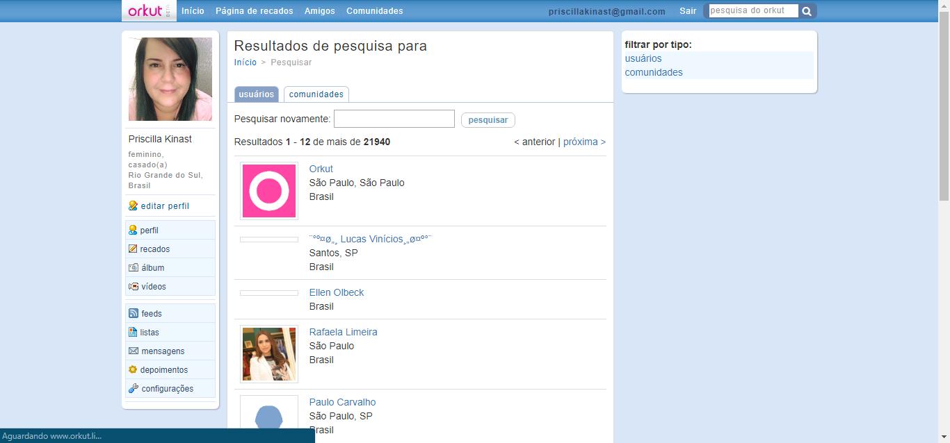 orkut voltou