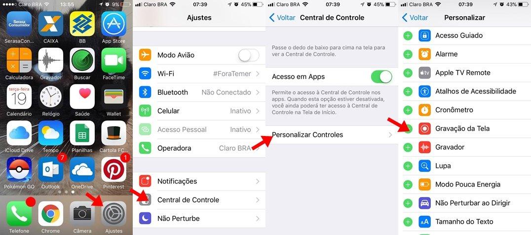 Como gravar a tela do iPhone no iOS 11 sem baixar nenhum app