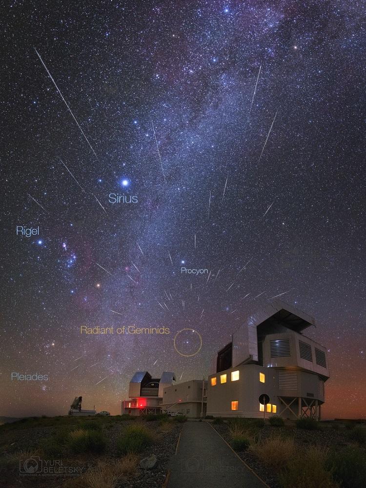 Chuva de meteoros Geminídeos sobre o Observatório Xinglong, China em 2015 – Crédito: Steed Yu e NightChina.net