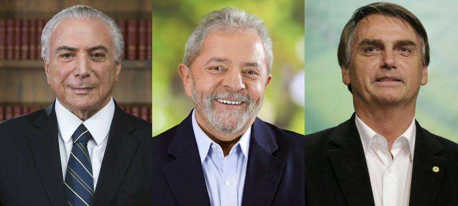 temer Lula e Bolsonaro