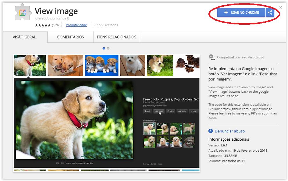Google remove botão