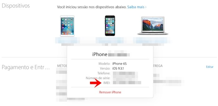 como descobrir IMEI do iPhone
