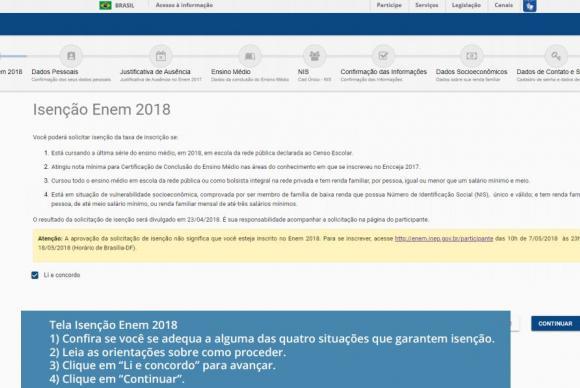isenção Enem 2018